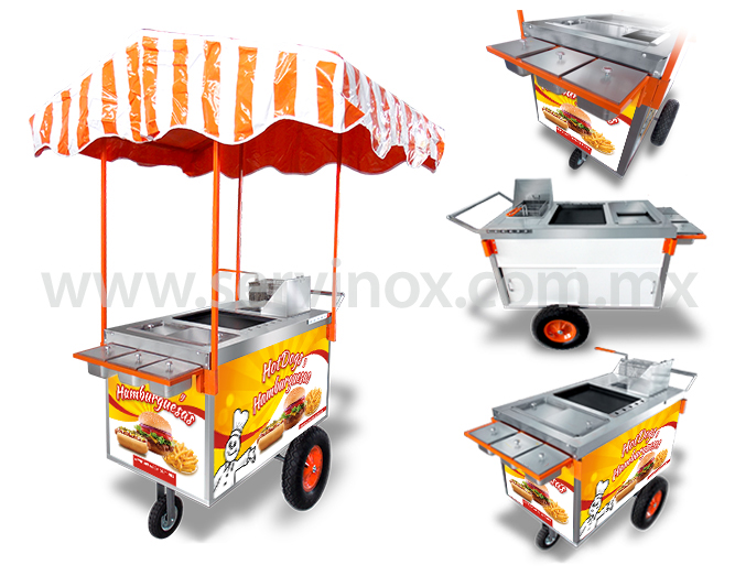 Carrito para hot dogs y hamburguesas mod ch 100 carritos for Carritos y camareras de cocina