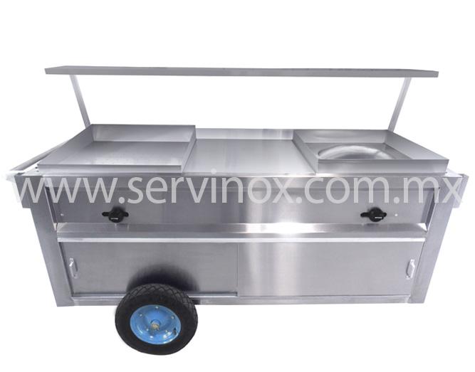 Carro Taquero Con 3 Servicios En Acero Inoxidable 2