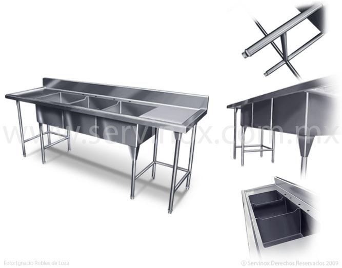 Fregaderos de triple tarja en acero inoxidable 100 calidad - Fregaderos de acero inoxidable ...