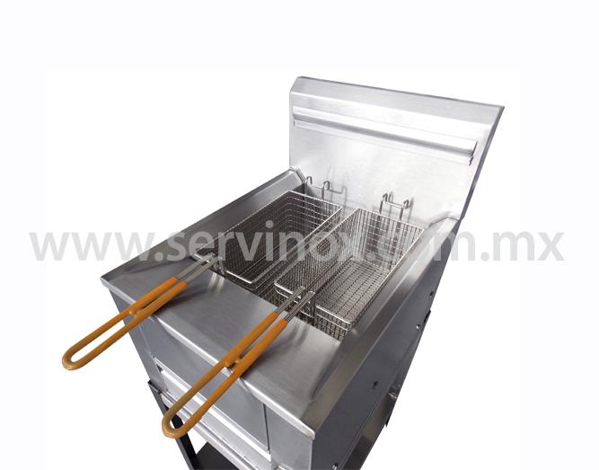 Freidora Doble Con Termostato Y Base En Acero Inox 1